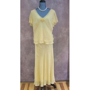 Adrianna Papell Yellow Silk Blouse & Skirt Set